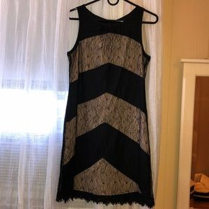 Jessica Simpson black and nude lace dress
